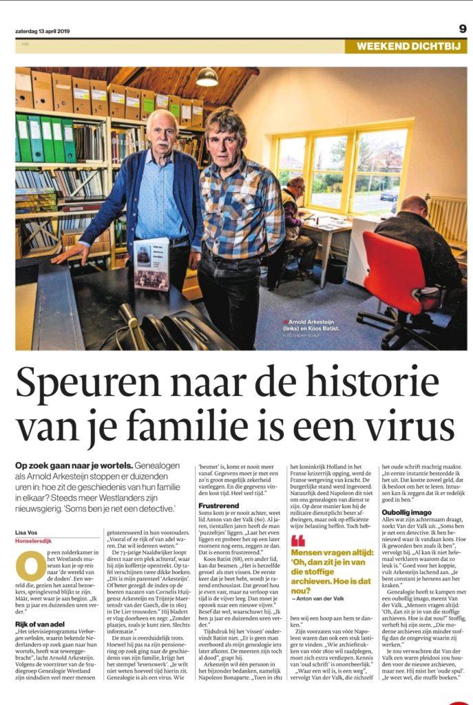 Artikel over genealogie in de Westland bijlage van het AD van zaterdag 13 april 2019